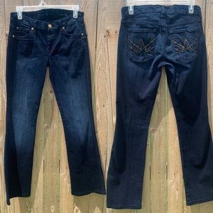 7FAM | Gold Beaded A Pocket Dark Wash Bootcut Jean